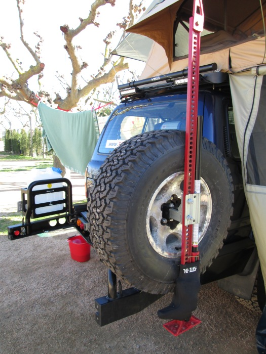 ARB rear bumper system: spare tire mount and an ARB Hi-Lift mount and our 152 cm Hi-Lift jack
