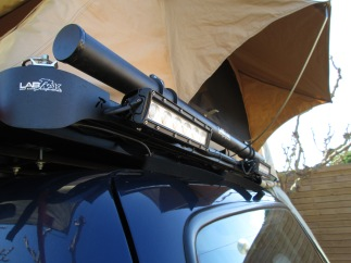 """These lights are from Expedition Lighting Systems. two 11"""" LED flood lights. On the rack from LabRak is a fishing rod carrier."""