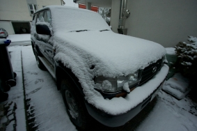 Truck after suspension upgrade, waiting in the snow