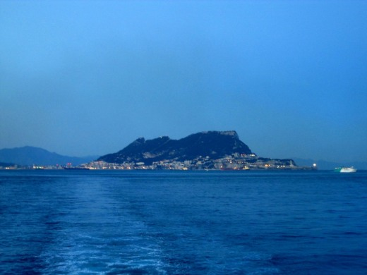 The Rock of Gibraltar as seen from our ferry.