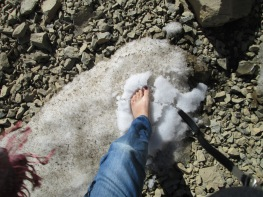 In the morning Celine put her foot in the snows of the Atlas....