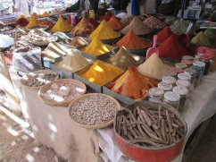 A very remarkable spice stand. In this market you get to try before you buy.