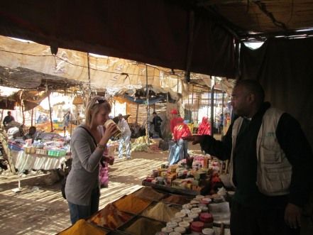 Armed with her experiences in India, Celine expertly negotiates the purchase of a few spices.