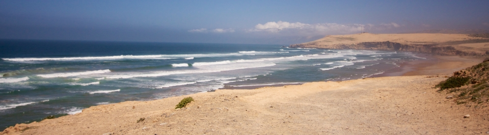 The Atlantic Coast from the highway heading North from Agadir towards El Jadida.