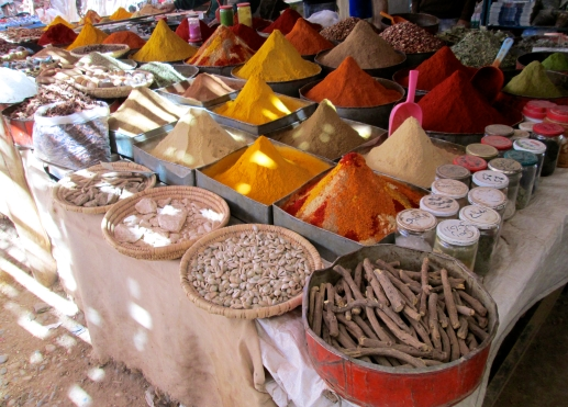 A spice stand in the market in Rissani.